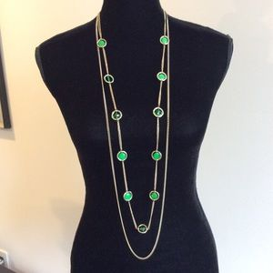 Jewelry - EXTRA LONG GOLD TONE NECKLACE WITH GREEN CRYSTALS